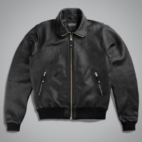 Куртка мужская UNCS LEATHER BOMBER BOMBARDIER BL. Черный