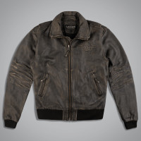 Куртка мужская UNCS LEATHER BOMBER BOMBARDIER BR. Коричневый